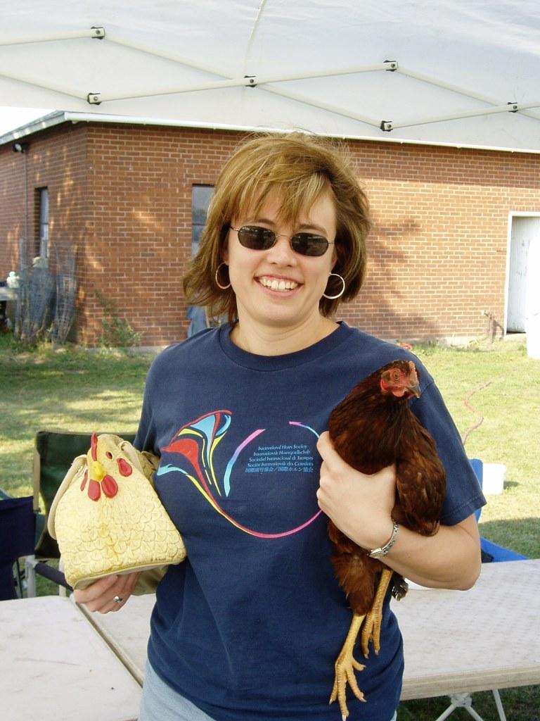 Jen with Chicken Purse